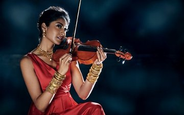 eyes, girl, pose, violin, look, model, face, red dress, indian, jewelry