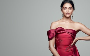 girl, look, hair, face, actress, red dress, celebrity, bollywood, bare shoulders, deepika padukone