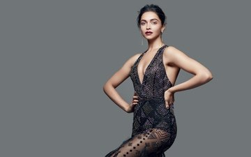 girl, makeup, black dress, neckline, celebrity, bollywood, deepika padukone