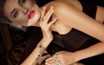eyes, girl, brunette, model, lips, face, tattoo, makeup, veil, jewelry