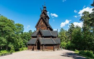 the sky, clouds, trees, church, norway, oslo, norwegian folk museum
