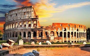 the sky, clouds, dawn, the city, italy, colosseum, amphitheatre, anfiteatro flavio