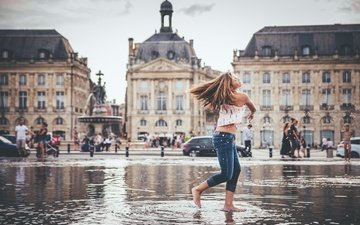 water, girl, mood, the city, france, bordeaux, the stock exchange square, square-a fountain water mirror