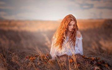 цветы, трава, девушка, настроение, модель, блузка, боке, рыжеволосая