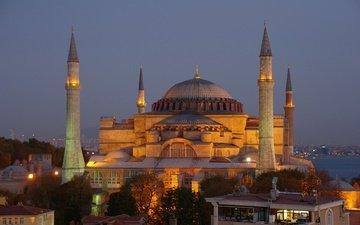 вечер, турция, мечеть, вечернее, стамбул, индейка