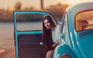 девушка, взгляд, авто, модель, волосы, лицо, giorgia, andrea carretta