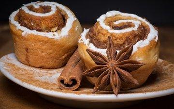 cinnamon, sweet, cakes, dessert, glaze, anis, star anise