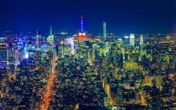 ночь, огни, панорама, город, мегаполис, сша, нью - йорк