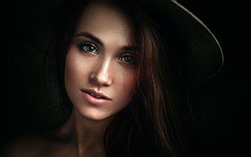 девушка, портрет, брюнетка, модель, лицо, зеленые глаза, шляпа, длинные волосы, ксюша, георгий чернядьев
