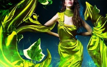 девушка, взгляд, креатив, волосы, лицо, гламур, зеленое платье, alexannabuts