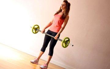 девушка, модель, руки, фитнес, спортивная одежда, штанга, тренировки