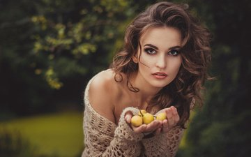 girl, portrait, fruit, look, model, hair, face, jacket, hands, makeup, curls, shoulder, brown hair, pear, julia sariy