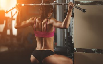 girl, back, fitness, sports wear, training, gym