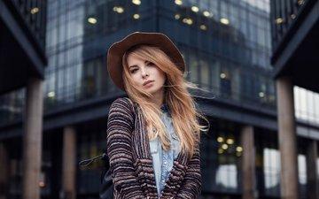 девушка, город, взгляд, модель, лицо, шляпа, ирина, ирина попова, максим гусельников