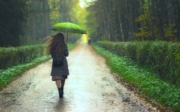 trees, girl, park, the bushes, rain, hair, umbrella, alley