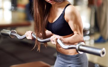 девушка, модель, фитнес, спортивная одежда, штанга, тренировки