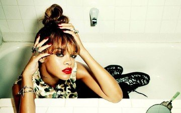 decoration, girl, look, model, face, singer, makeup, bath, rihanna