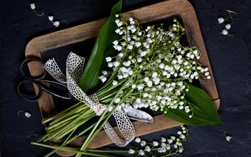 style, lilies of the valley, a bunch, scissors