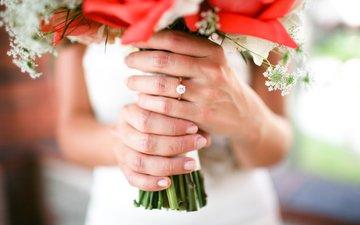 девушка, кольцо, букет, свадьба, невеста