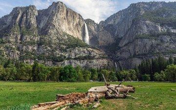 горы, водопад, сша, калифорния, национальный парк йосемити, йосемитский национальный парк, калифорнийская