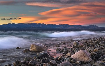 clouds, the evening, mountains, stones, shore, wave, sea, argentina, patagonia