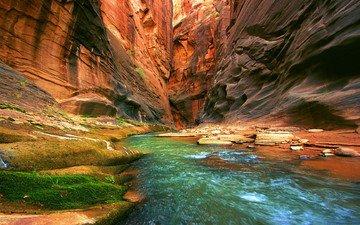 река, скалы, поток, сша, ущелье, grand canyon national park, гранд каньон
