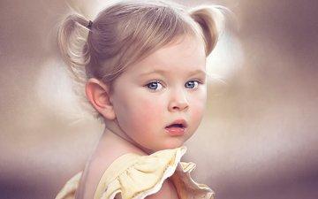 portrait, children, girl, child, blue eyes, surprise, bokeh, braids, tonya freeland
