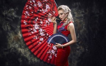 style, girl, dress, blonde, asian, fan, smoking pipe