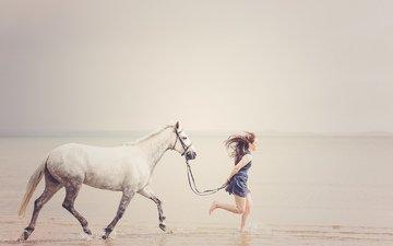 horse, shore, girl, sea, beach, horizon, freedom, running