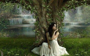 grass, nature, tree, leaves, girl, brunette, model, white dress, waterfalls