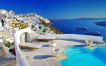 море, город, греция, санторини