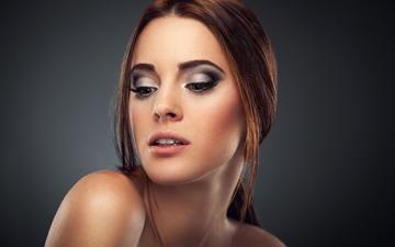 девушка, портрет, взгляд, модель, волосы, губы, лицо, макияж, голые плечи