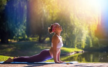 nature, girl, model, fitness, sports wear, yoga, sunlight, workout