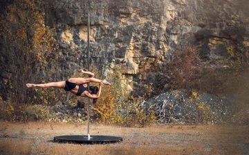 nature, girl, brunette, model, dance, photoshoot, pole, exercises, pylon