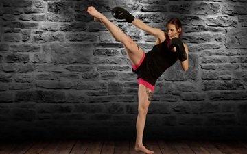девушка, фон, взгляд, татуировка, спортивная одежда, тренировки, боксерские перчатки, упражнение
