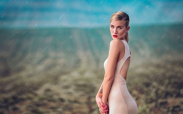 girl, dress, look, ass, model, rain, face, makeup, figure, simona, katy sendza