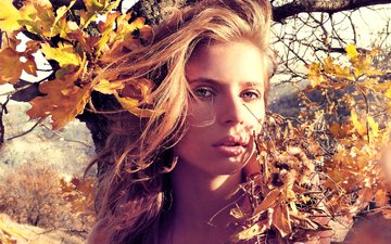 листья, девушка, портрет, ветки, взгляд, осень, волосы, губы, лицо, seraphima sishikova, ruslan kadiev