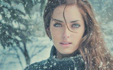 снег, природа, зима, девушка, взгляд, снегопад, русая, jimagination, сара аллаг