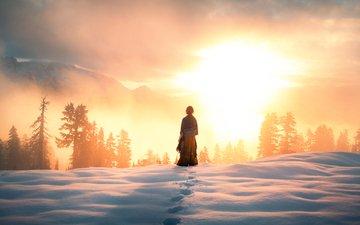 clouds, mountains, the sun, snow, winter, girl, fog, view, dawn, sunlight, lizzy gadd, arise