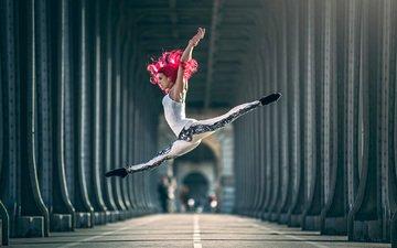 девушка, взгляд, танец, волосы, лицо, шпагат, балет, балерина
