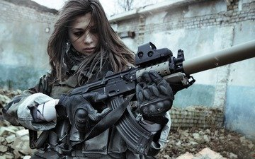 eyes, girl, weapons, war, machine, stalker, klgr, killgore