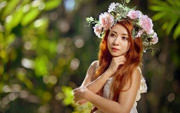 цветы, девушка, настроение, взгляд, волосы, лицо, венок, азиатка