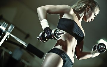 девушка, модель, фитнес, гантели, тренировки, тренажерный зал