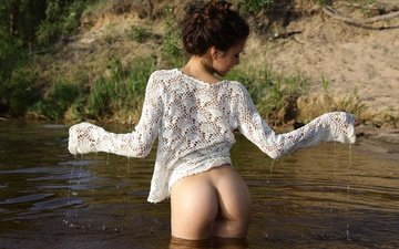 water, nature, girl, drops, model, posing, ass