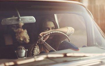 девушка, взгляд, авто, волосы, лицо, стекло, руль, shailine doney