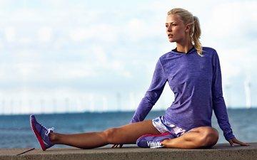 девушка, блондинка, модель, фитнес, спортивная одежда, йога, тренировки