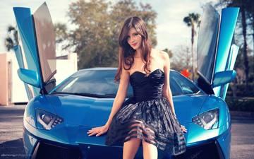 girl, model, sitting, feet, hair, car, black dress, lamborghini, supercar, the hood, zoe p