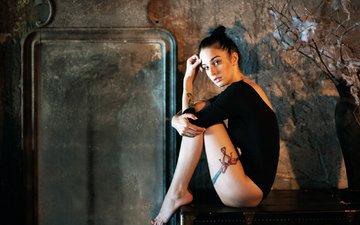 девушка, брюнетка, модель, ножки, татуировка, фотосессия, сундук, сидя, босиком, георгий чернядьев, алла бергер