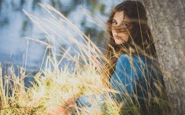 трава, озеро, природа, дерево, берег, девушка, настроение, портрет, взгляд, водоем, сидит, волосы, ветер, шатенка, длинноволосая, голубое платье