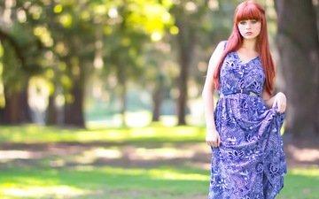девушка, парк, платье, лето, взгляд, красные волосы, голубоглазая